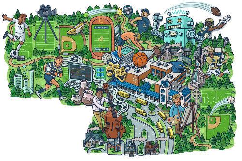 Sports ground graphic map illustration