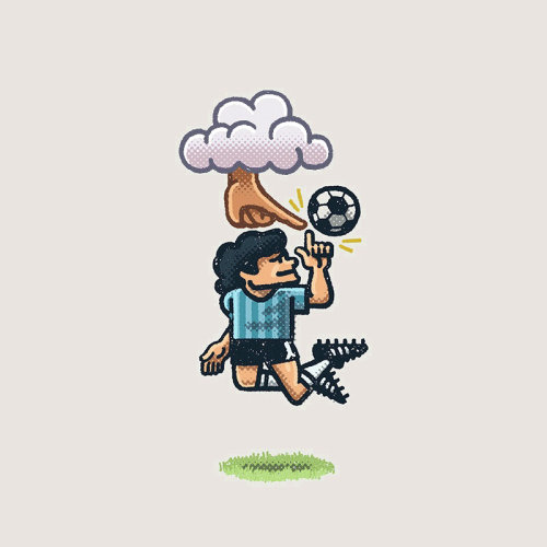 Illustration of Diego Maradona, Argentine football player