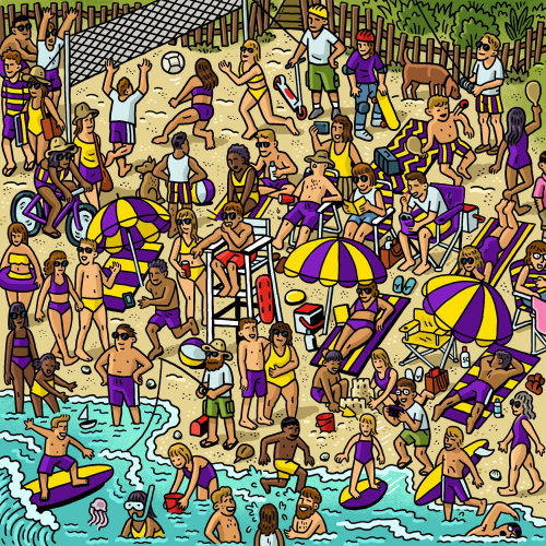 Gif animation of beach crowd