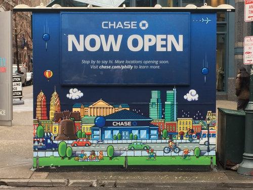 Chase Bank advertising illustration