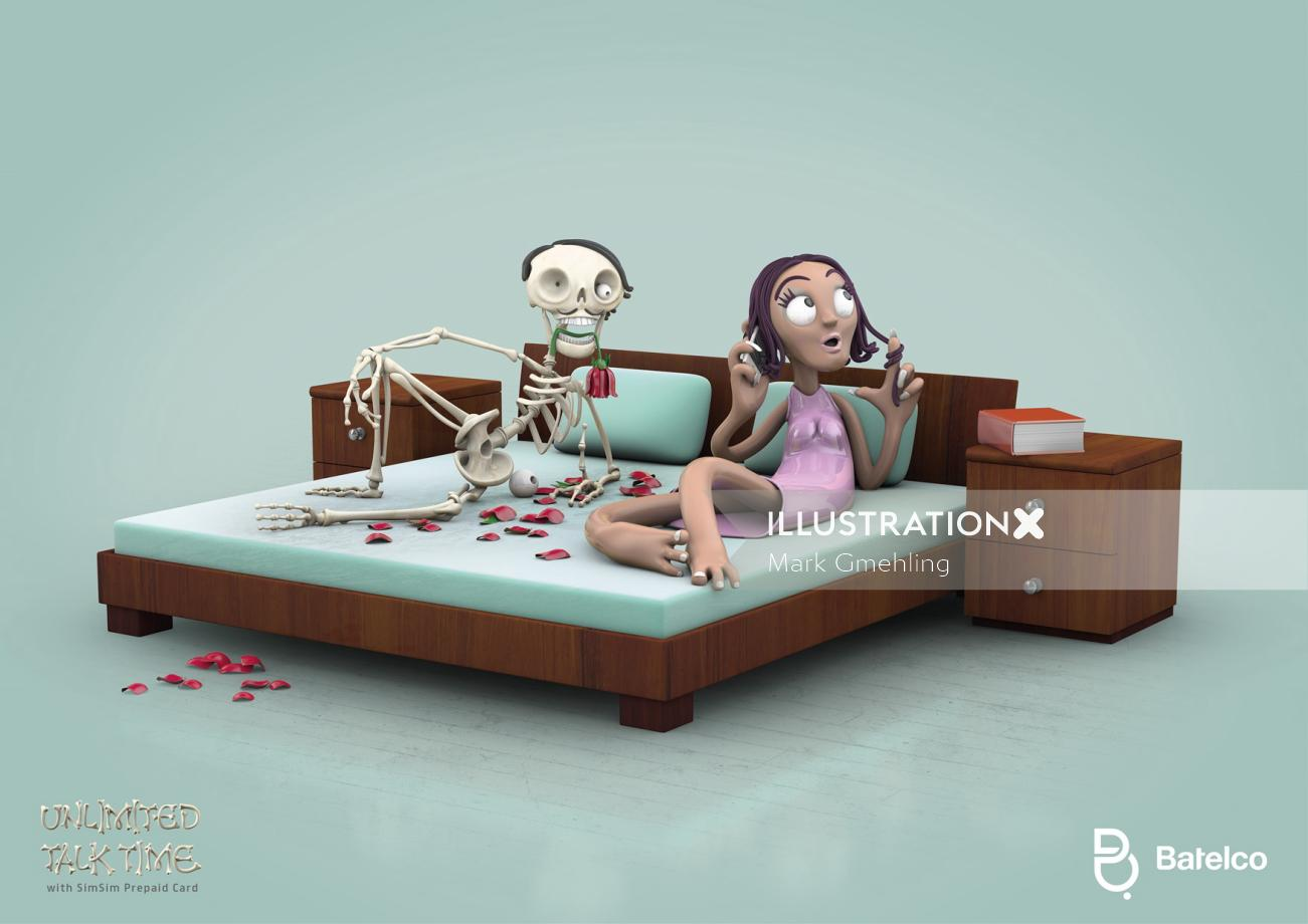 3d skeleton and girl