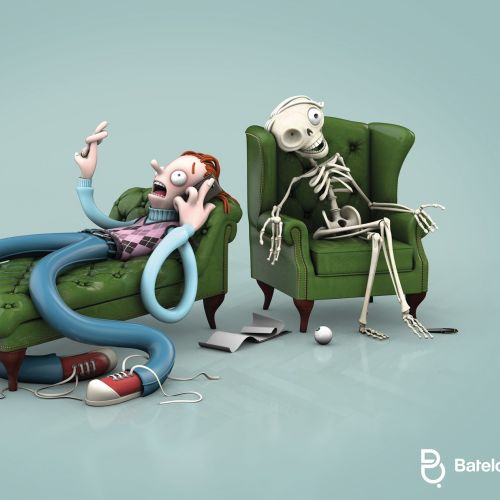 3d man and skeleton relaxing