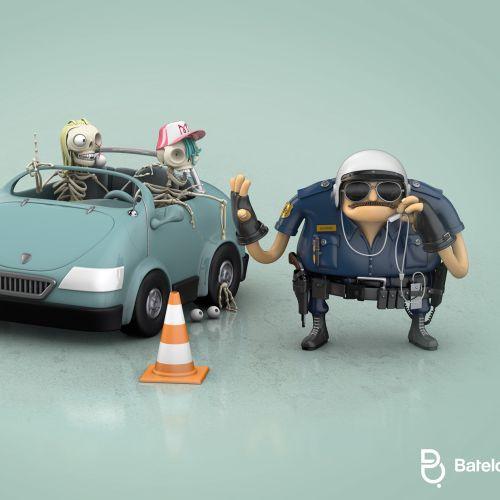 3d CGI Traffic police and car
