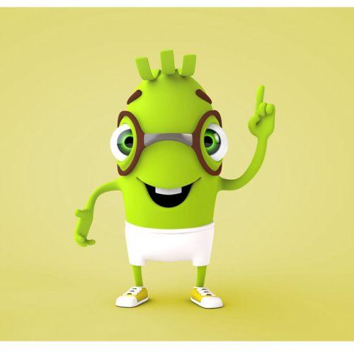 3d alien with glasses