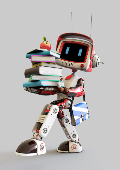 3d cgi robot  with books
