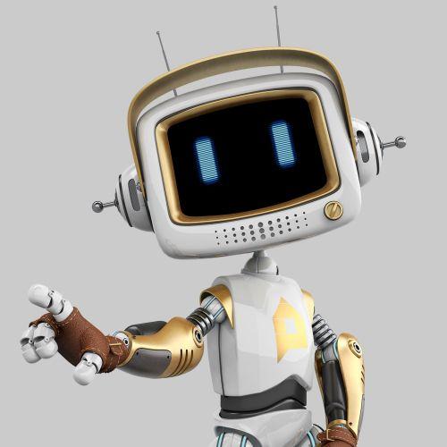 3d cgi robot face closeup