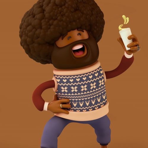 3d cgi man with drink