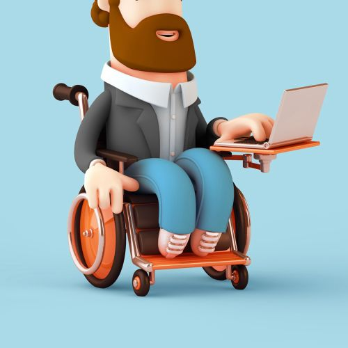3d cgi man on wheel chair with laptop