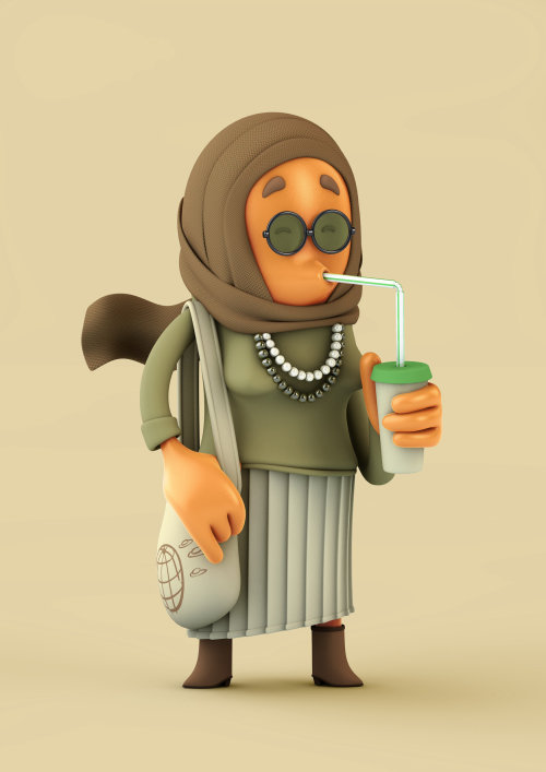 3d cgi old lady drinking juice