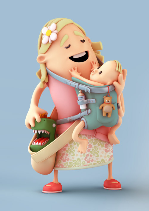 3d cgi woman with baby bag