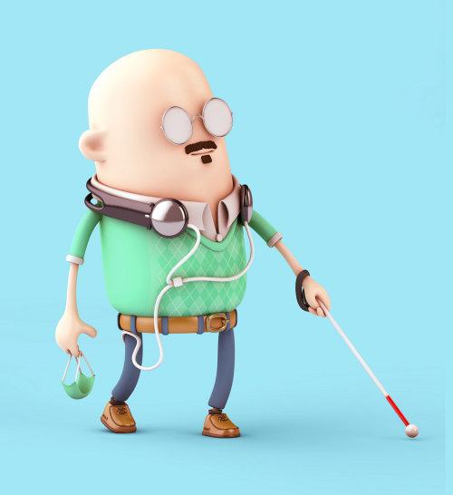 3d cgi blind man walking