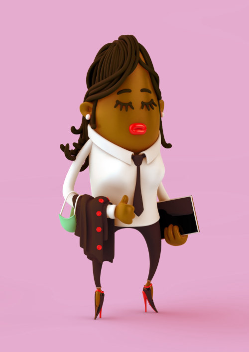 3d / CGI Woman going to office