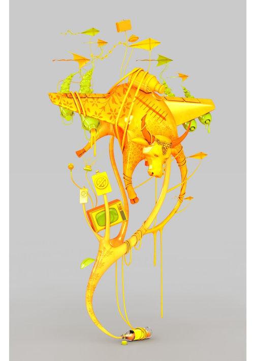 3d yellow color design