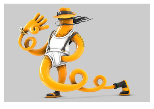 3d orange character