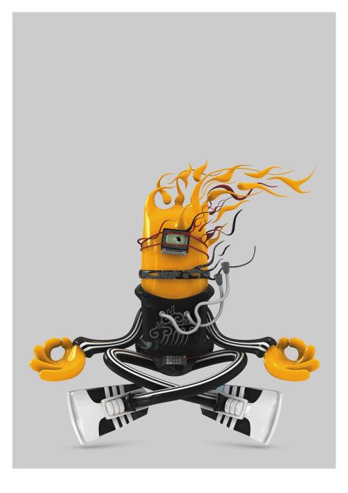 3d meditating character