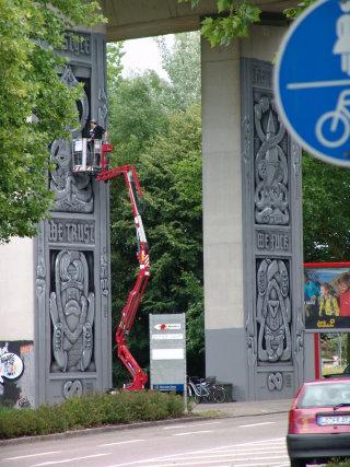 Toy Graffiti Illustration On Bridge Gallery Pillar