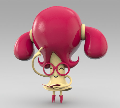 3d red character with big red hair