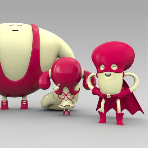 3d red alien characters