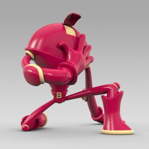 3d big red alien