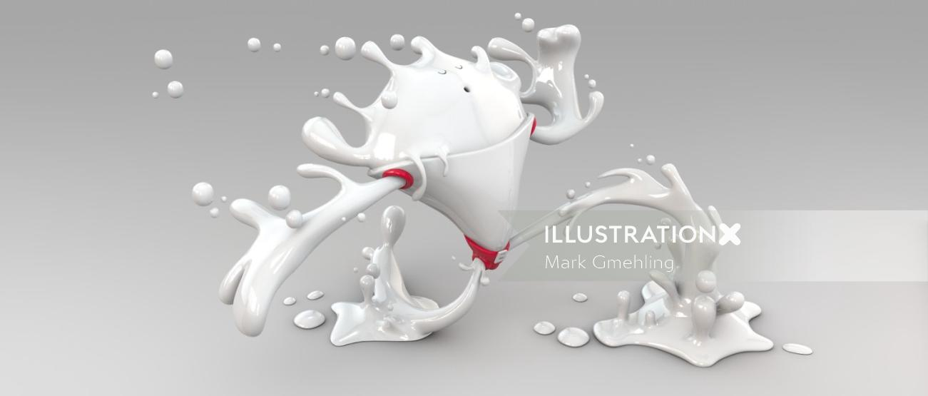 3d character with white paint