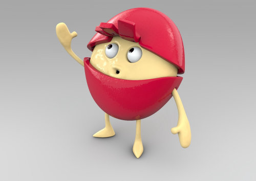3d red character
