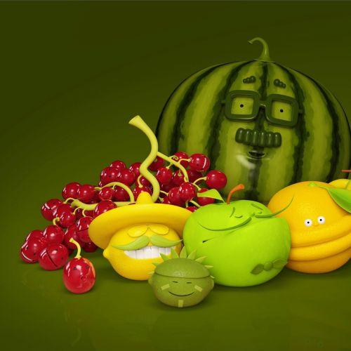 3d fruit characters