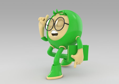 3d character with gree dress
