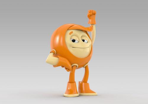 3d funny orange guy