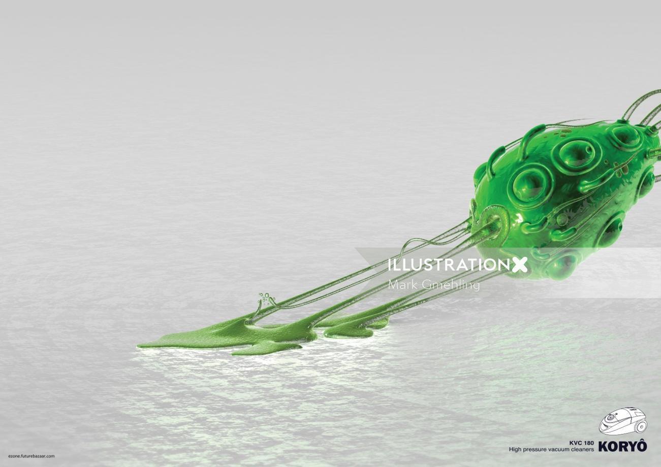 3d alien green character