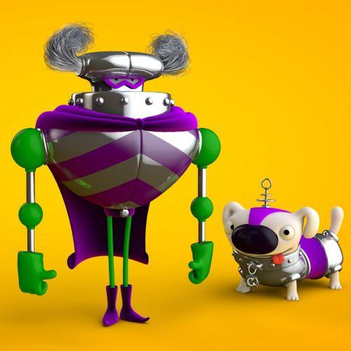 3d mechanical robot and dog