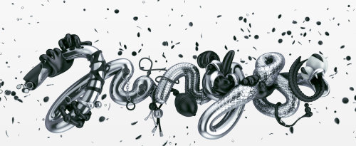 3d lettering black and white
