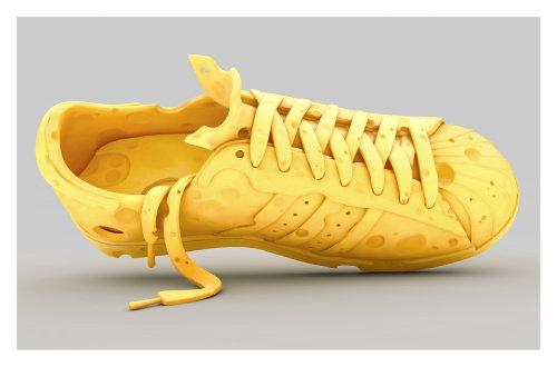 3d yellow shoe