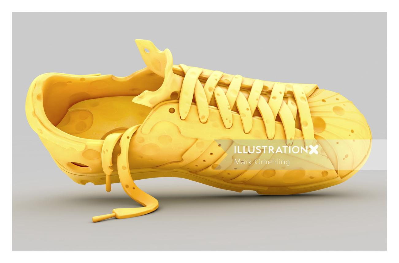 3d yellow shoe