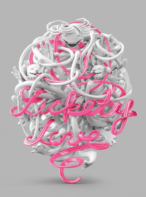 3d lettering luckely love