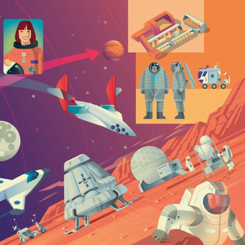 Graphic illustration of astronauts in space