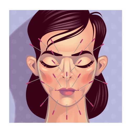 Needles on face graphic illustration