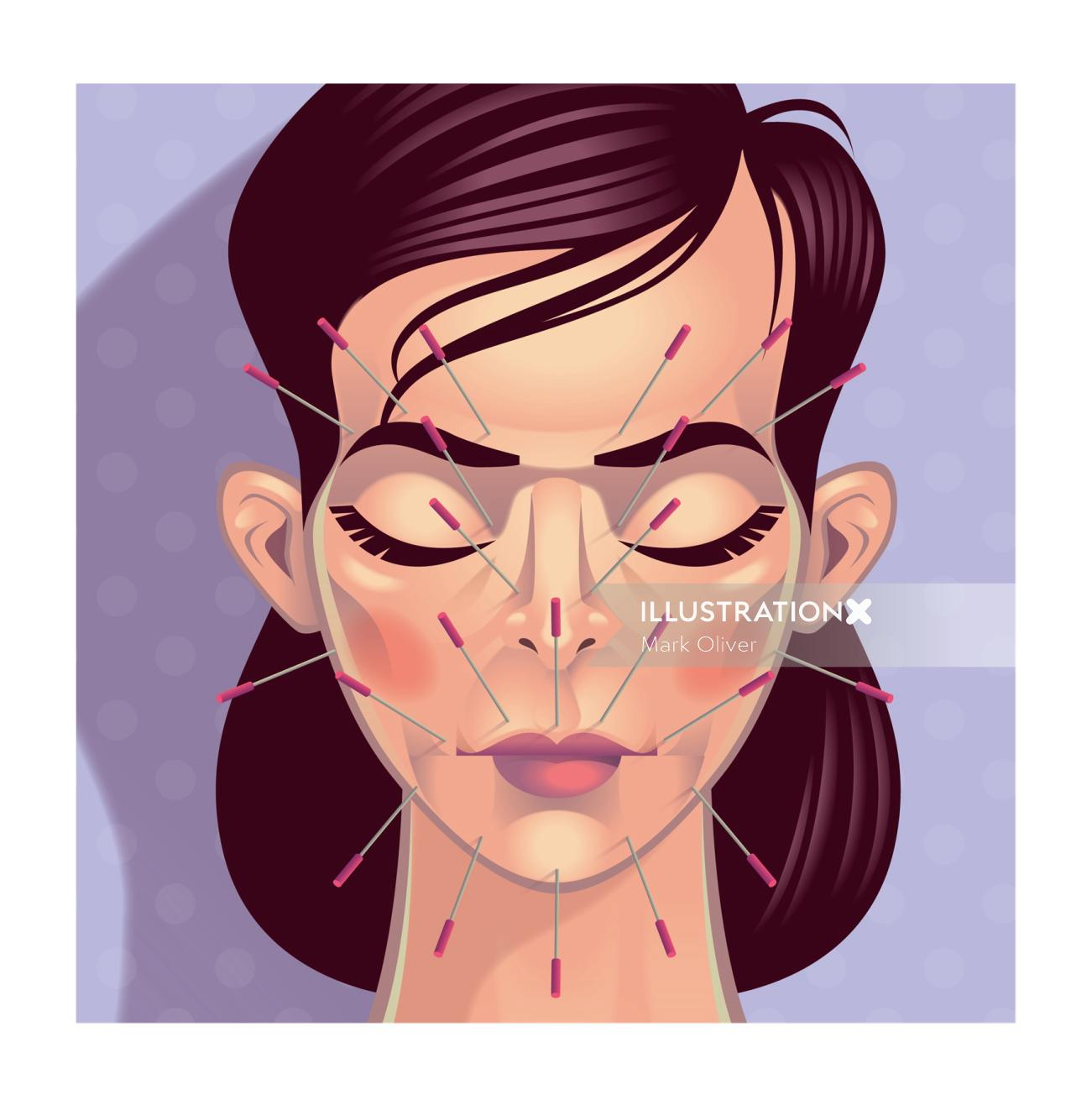 Needles on face graphic illustration