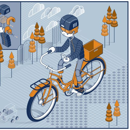 Graphic illustration of robot cycle riding