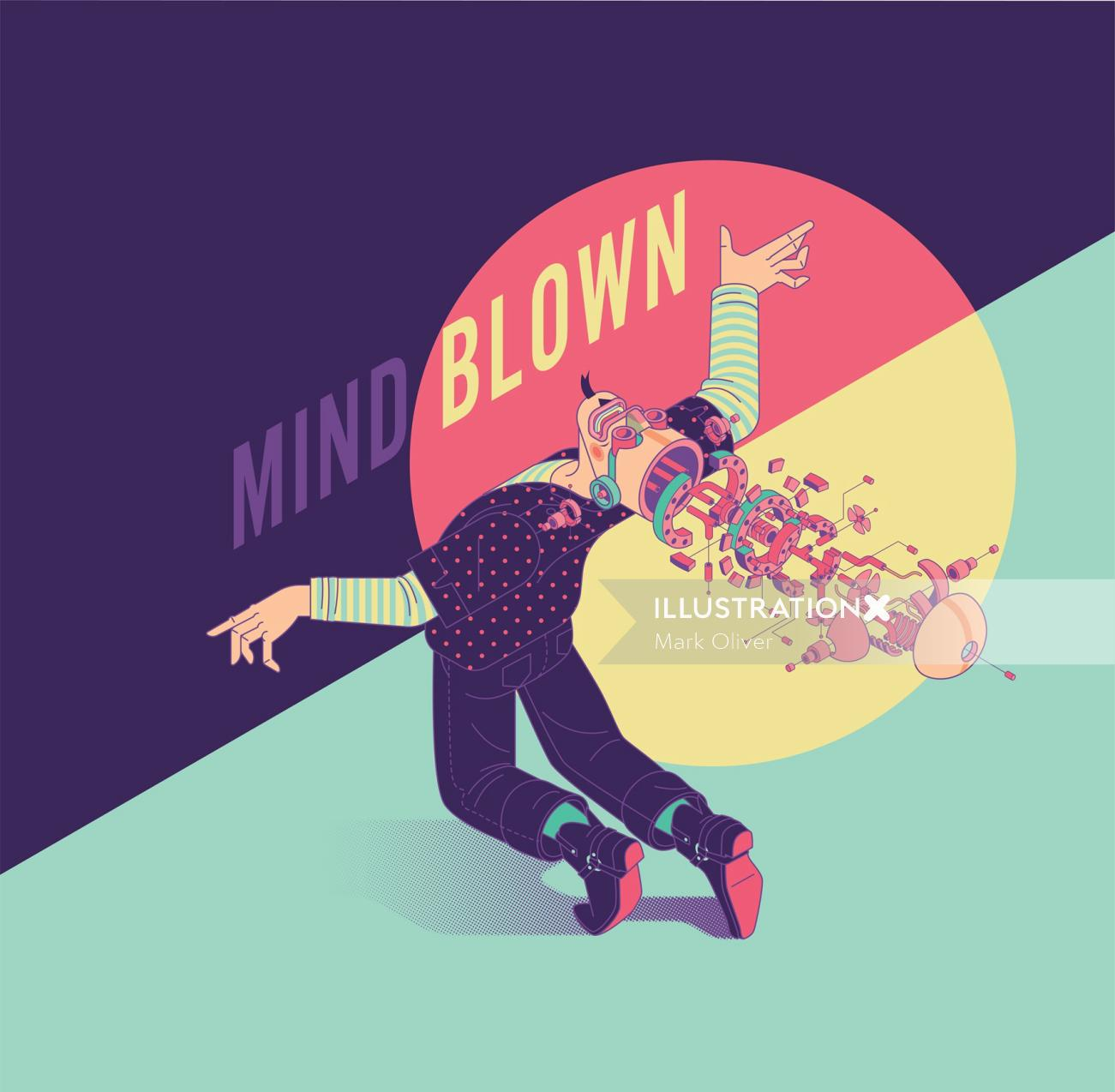Graphic illustration of Mind blown
