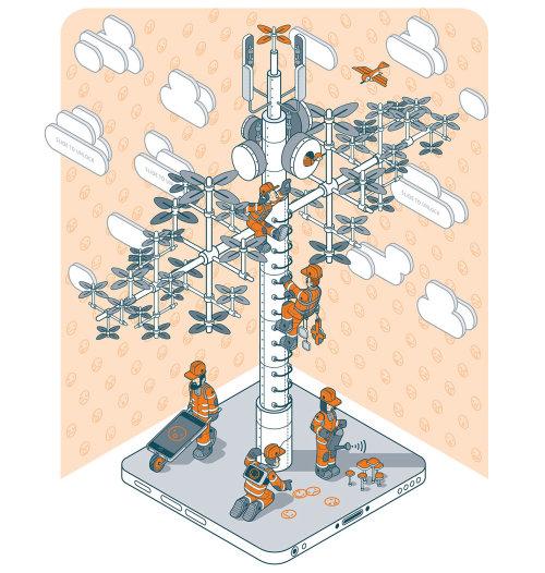 Ilustração da árvore de telecomunicações
