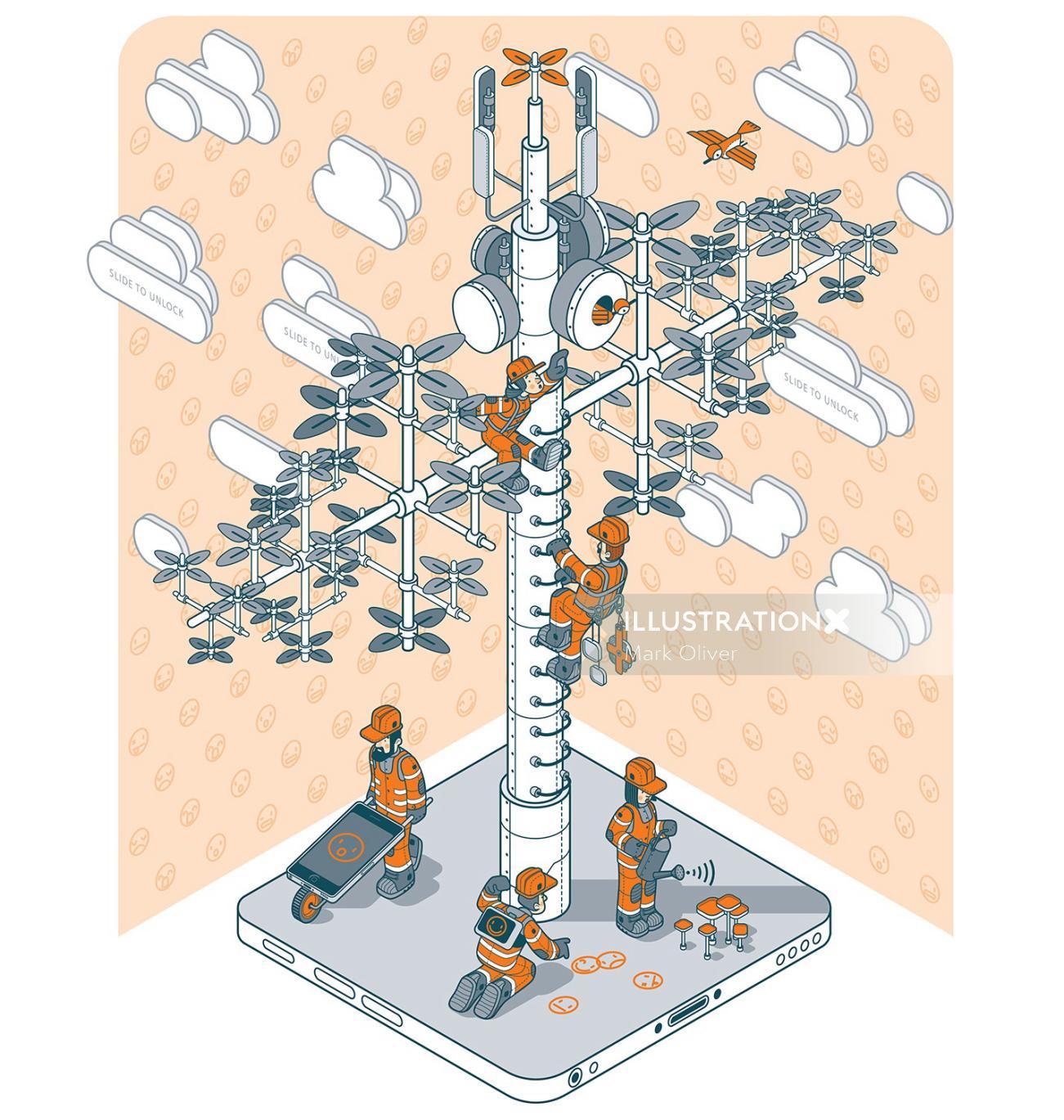 Illustration of telecom tree