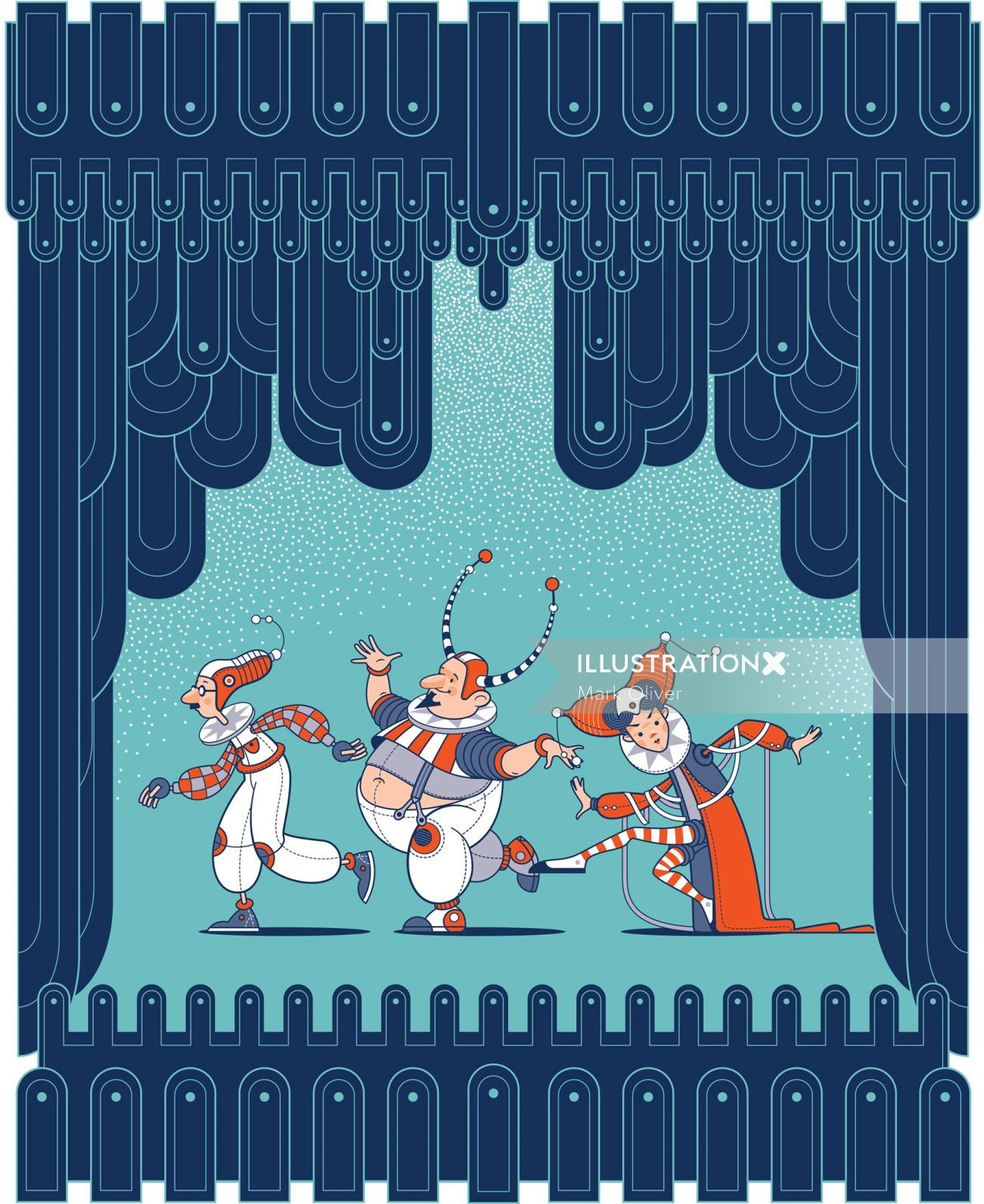 Dancing clowns in a theater