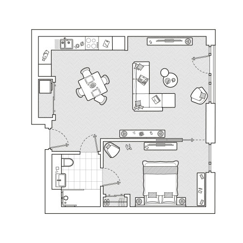 Architecture design of single bedroom