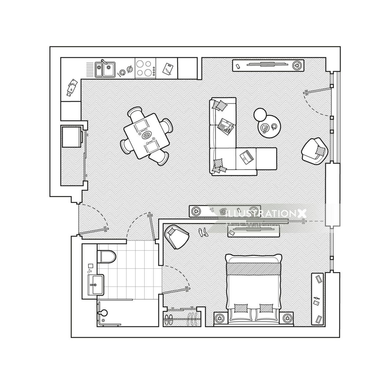 Architecture design of single bedroom