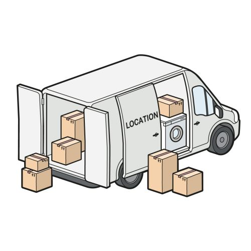 Line art of delivery truck