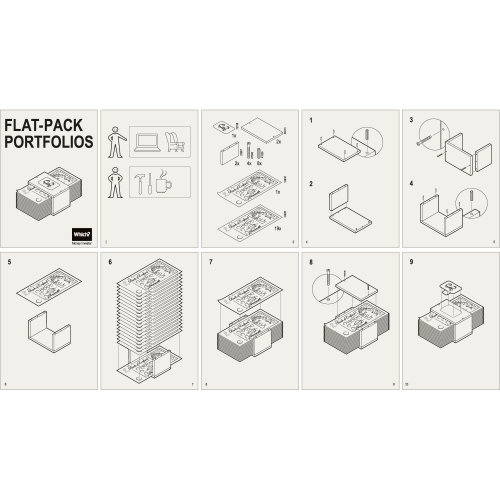 Line drawing of flat pack portfolios