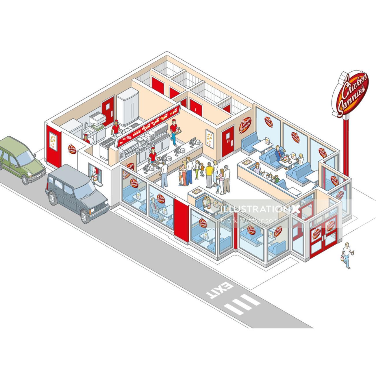 Chicken sammie shop architecture illustration