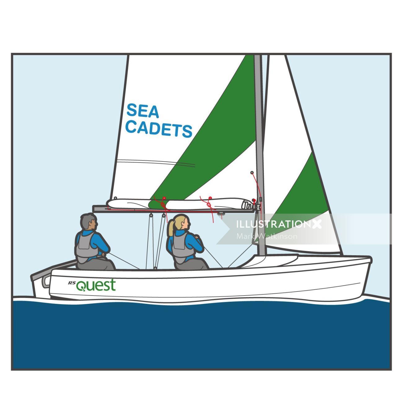 Sea cadets transport illustration