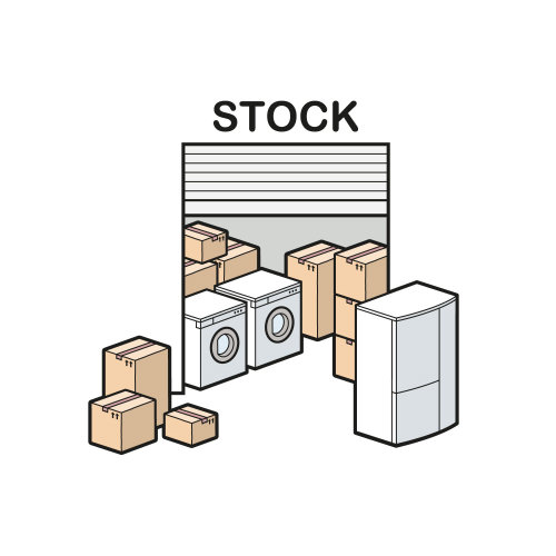 Line drawing of stock room