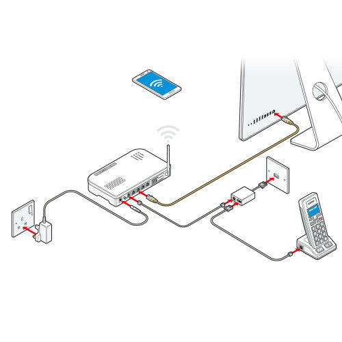 Telephone connection system line drawing